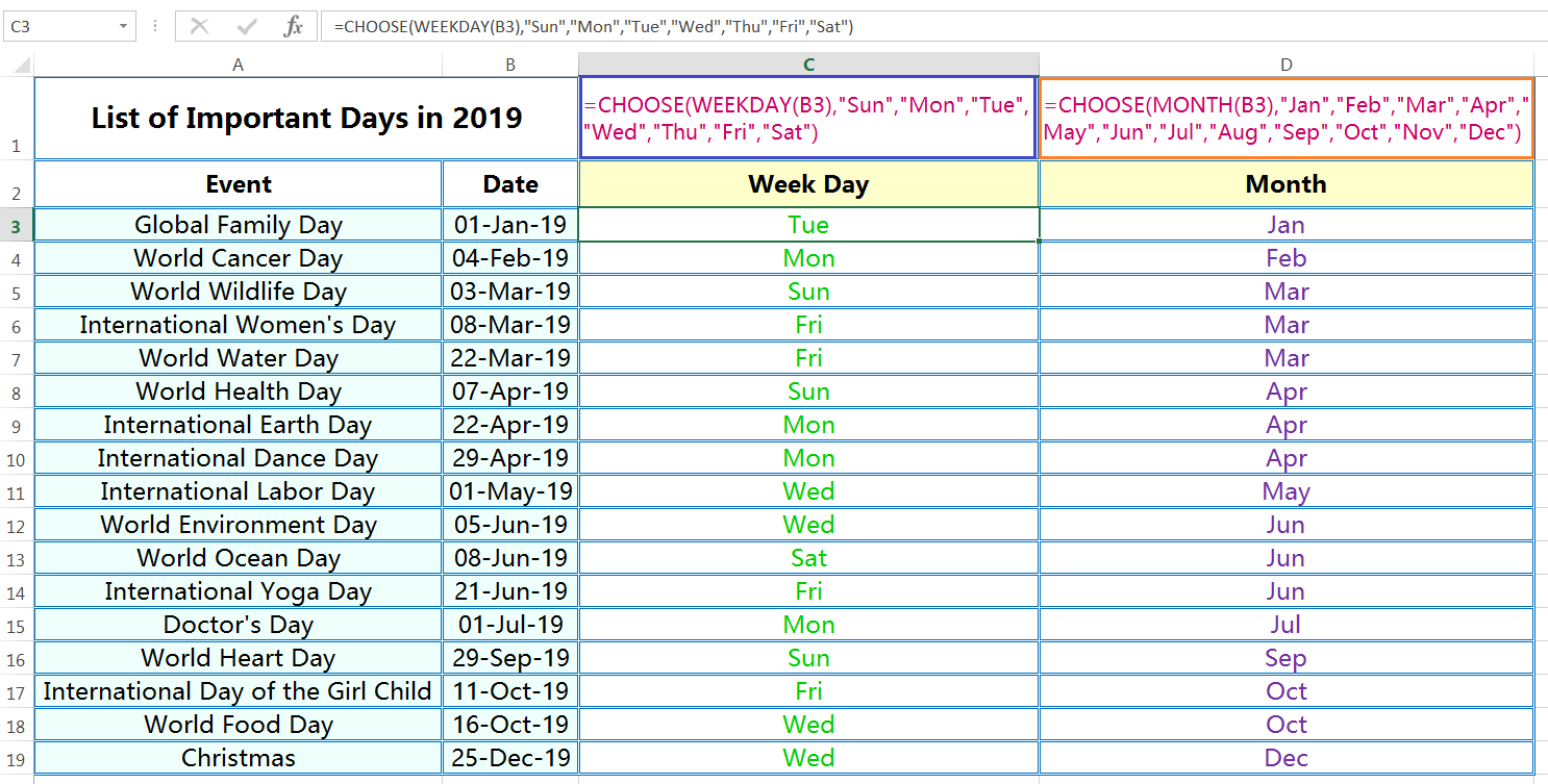 CHOOSE function returns a custom Day and Month name from Date