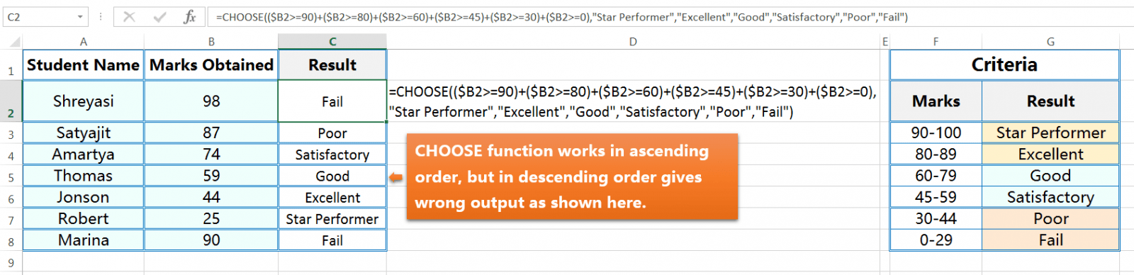 CHOOSE function returns a value based on Conditions-3