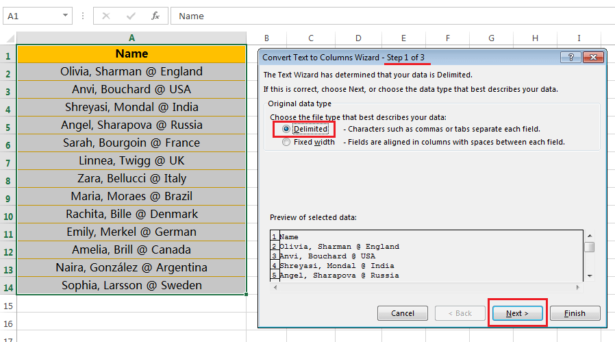 Text to Columns (Split Names and Country Names)-2