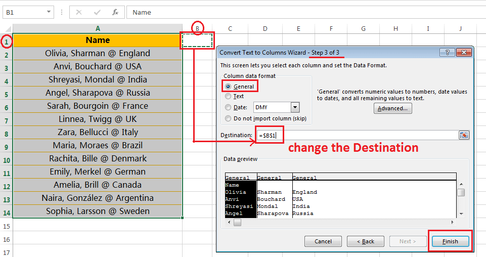 Text to Columns (Split Names and Country Names)-5