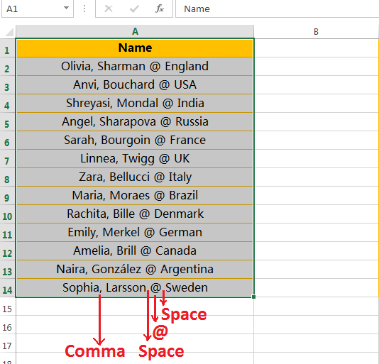 Text to Columns (Split Names and Country Names)-1