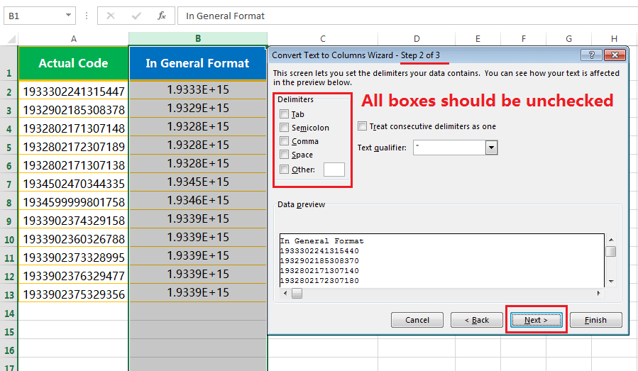 Text to column(Convert Number to text)-3