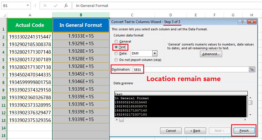 Text to column(Convert Number to text)-4