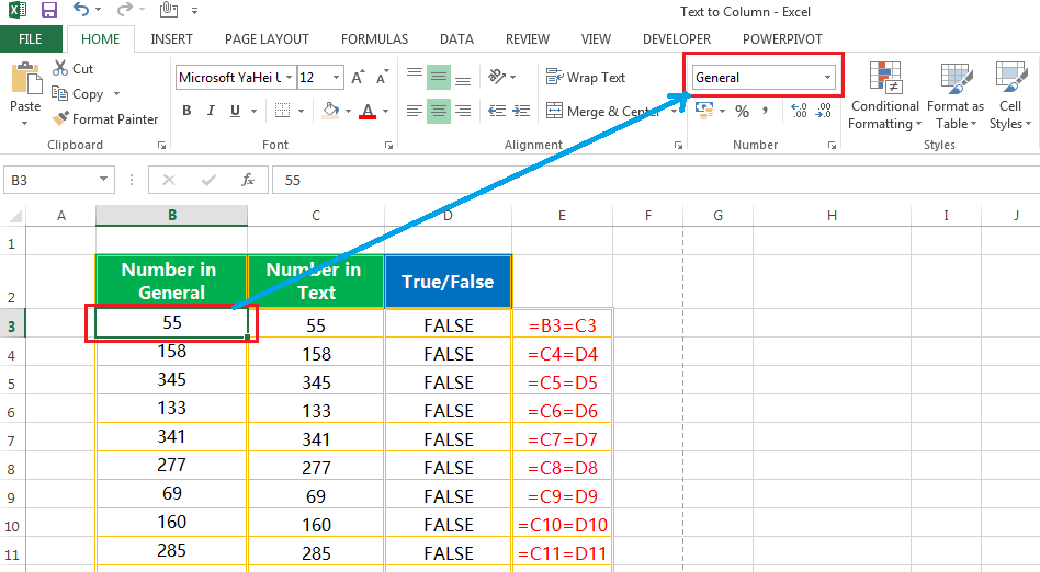 Text to column(Convert Text to Numbers)-2