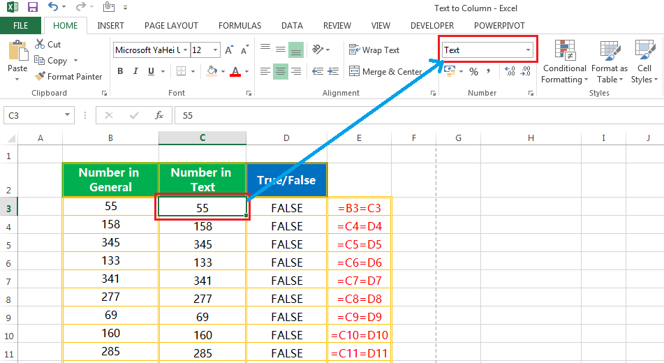 Text to column(Convert Text to Numbers)-3