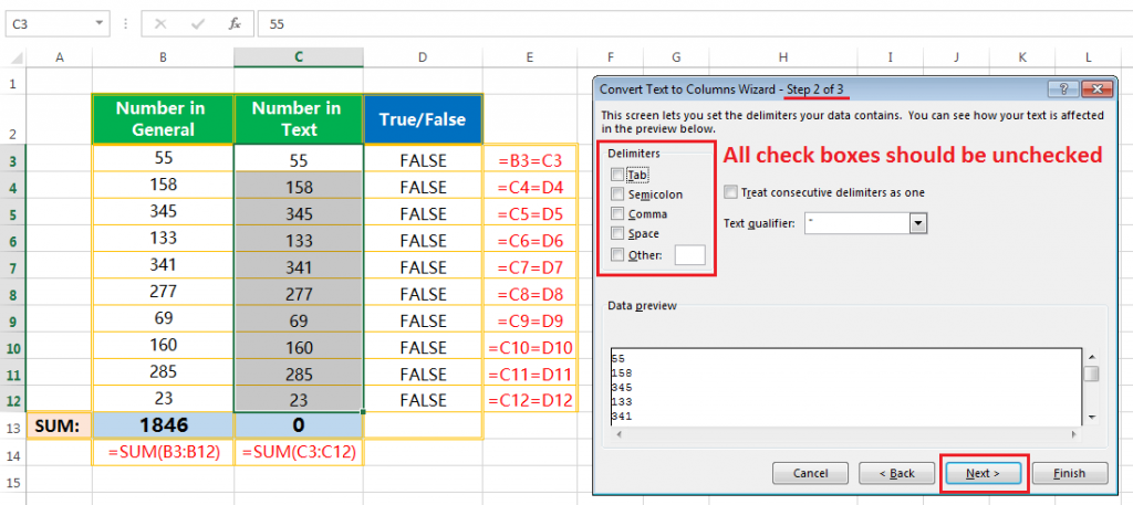 Text to column(Convert Text to Numbers)-5