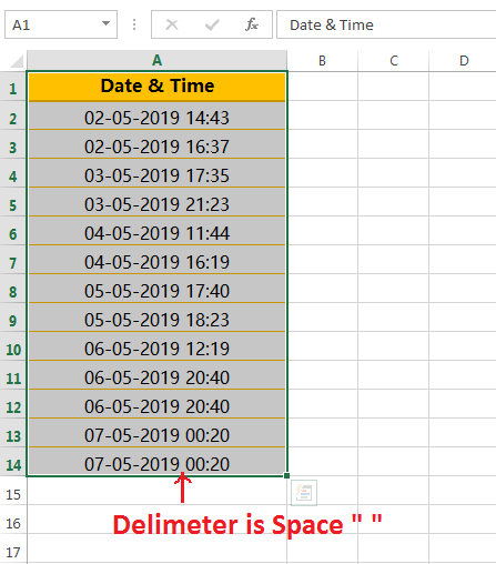 Text to column (Split Date and Time having delimiter space)-1