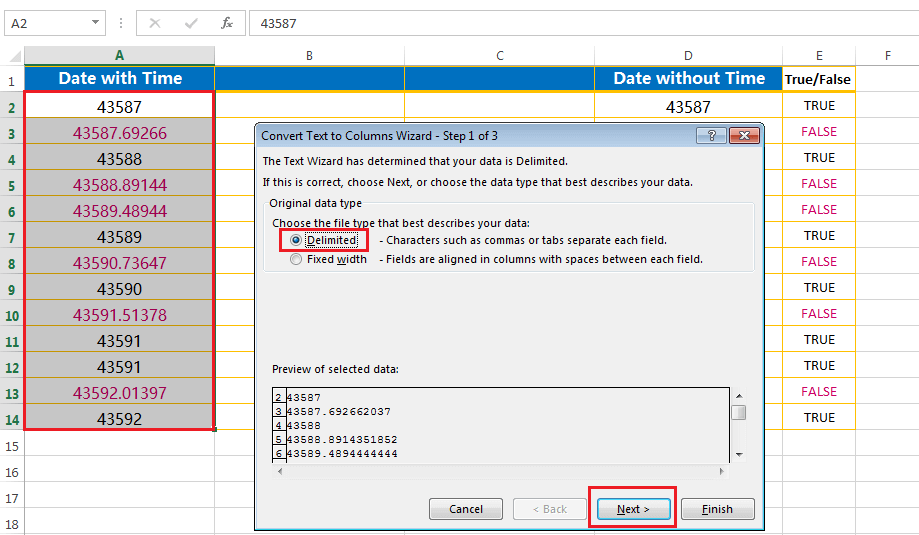 Split the point extension after the values - first step