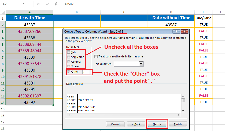 Split the point extension after the values - second step