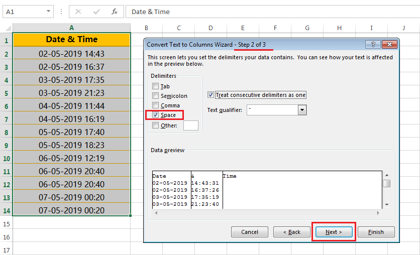 Text to column (Split Date and Time having delimiter space)-3