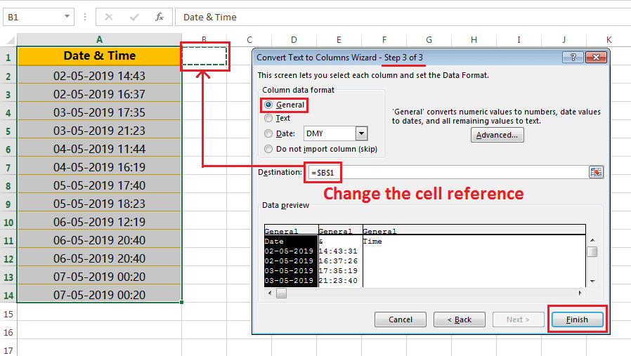 Text to column (Split Date and Time having delimiter space)-4
