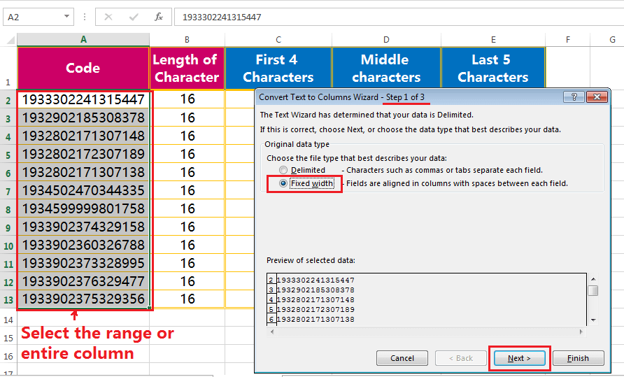 Text to column (Extract Few Characters of a fixed width text or String)-2