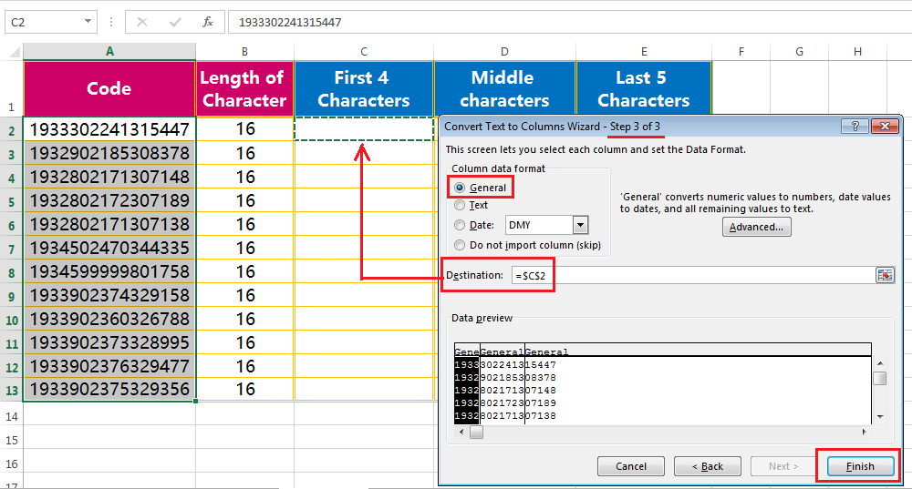Text to column (Extract Few Characters of a fixed width text or String)-4
