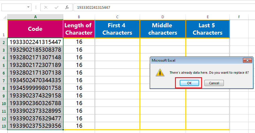 Text to column (Extract Few Characters of a fixed width text or String)-5