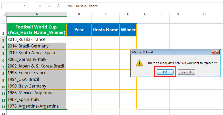 Text to column (Split text into Years, Hosts Name & Winner Team having delimiter hyphen and underscore)-4