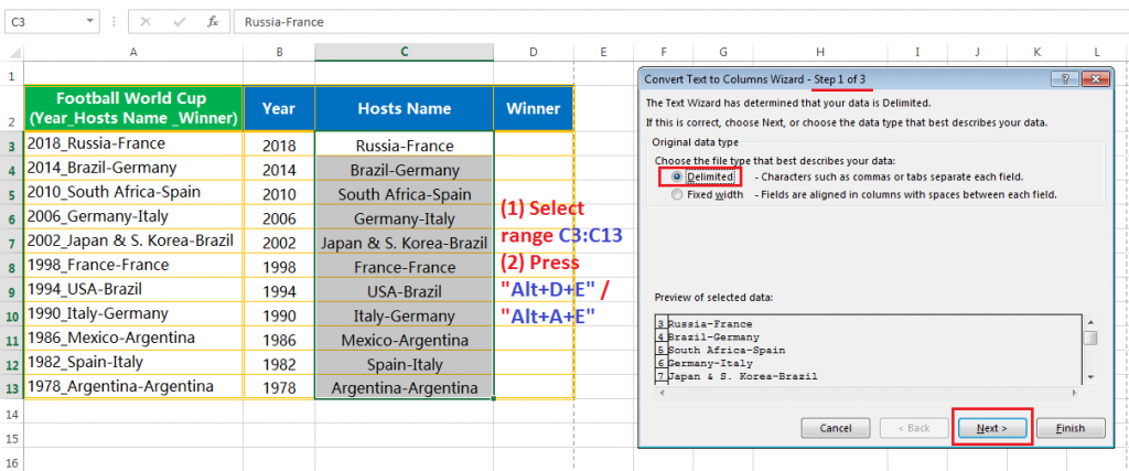 Text to column (Split text into Years, Hosts Name & Winner Team having delimiter hyphen and underscore)-5
