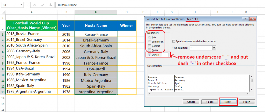 Text to column (Split text into Years, Hosts Name & Winner Team having delimiter hyphen and underscore)-6