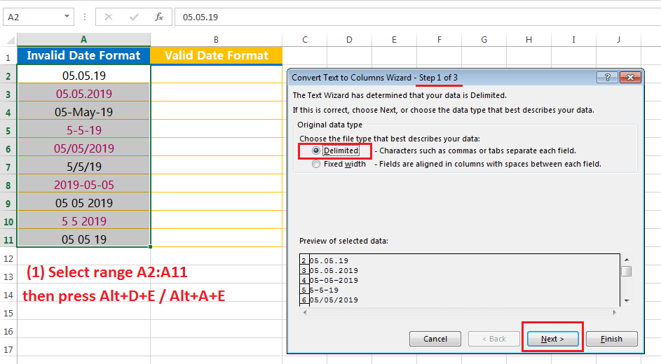 Text to Columns (Convert Invalid Date Formats to Valid Date Formats)-1
