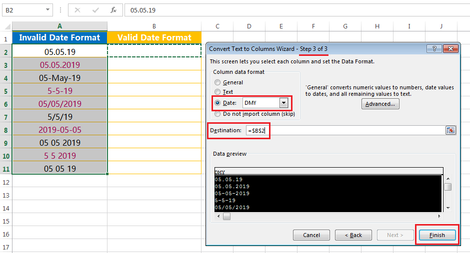 Text to Columns (Convert Invalid Date Formats to Valid Date Formats)-3