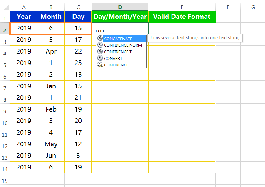 Text to column(Join days, months and years to form valid date formats)-1
