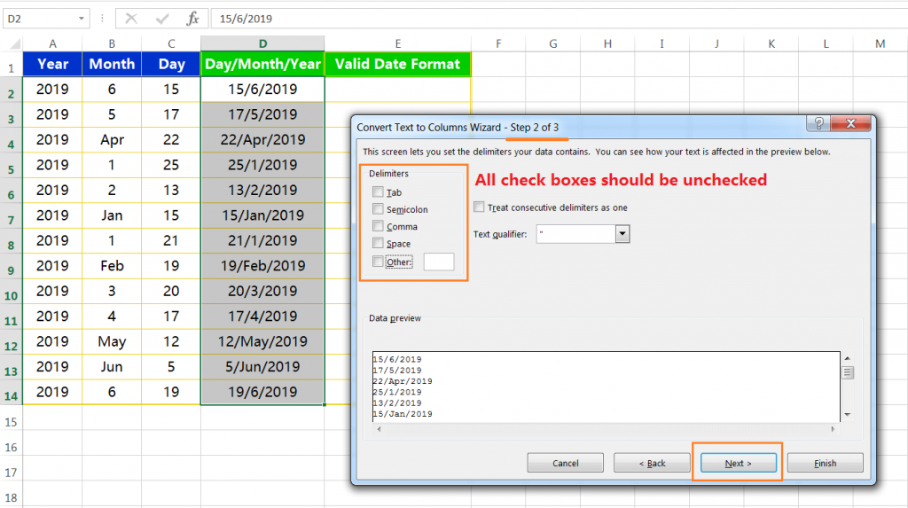 Text to column(Join days, months and years to form valid date formats)-6