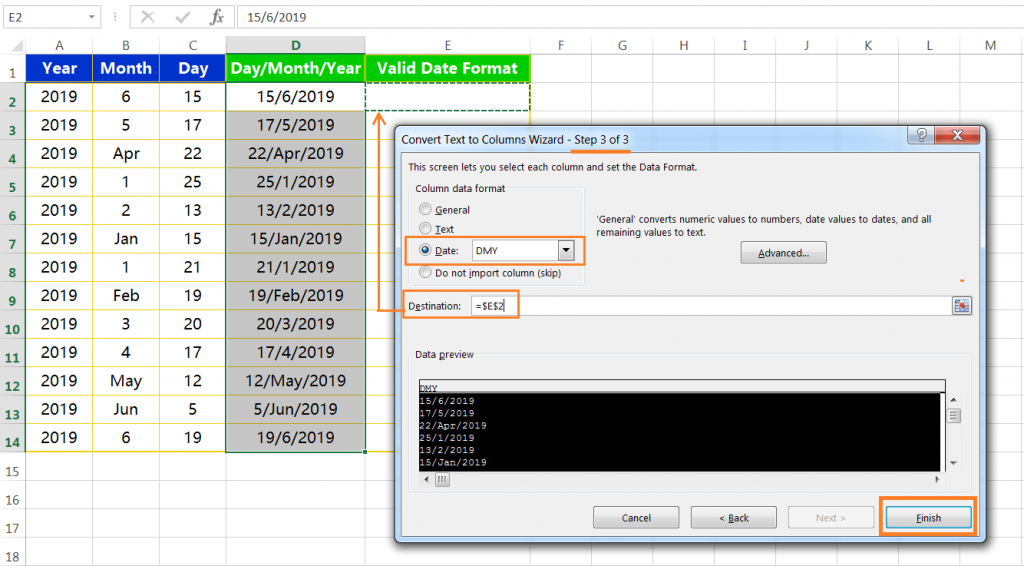 Text to column(Join days, months and years to form valid date formats)-7