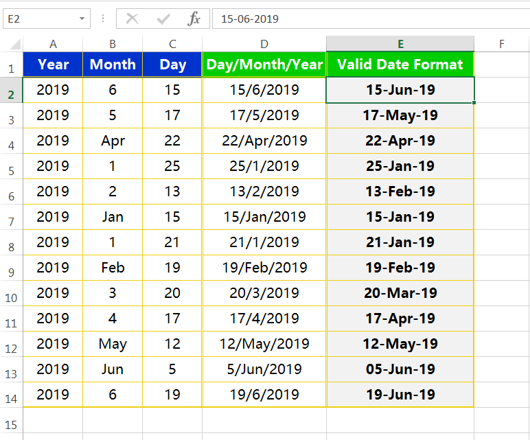 Text to column(Join days, months and years to form valid date formats)-8