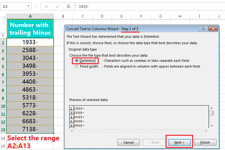 Text to Columns (Convert Numbers with Trailing Minus Sign to negative      numbers)-1