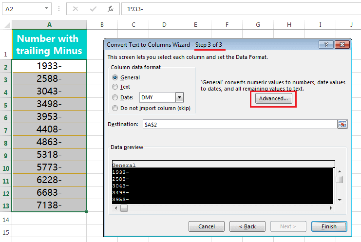 Text to Columns (Convert Numbers with Trailing Minus Sign to negative      numbers)-3