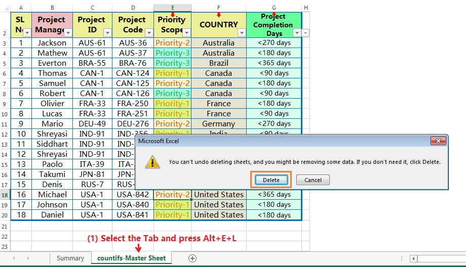 Delete Tab by Excel Shortcut