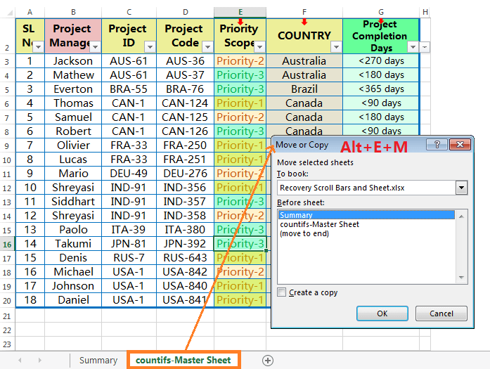 Move or Copy Tab by Excel Shortcut-1