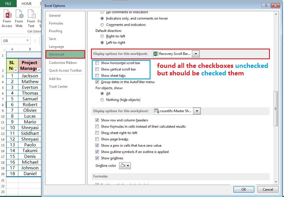 Hide and Restore the Scroll Bars, Sheet Tabs-4