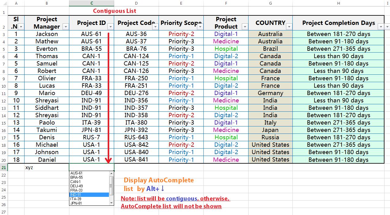 Alt+↓ (Display Autocomplete List)