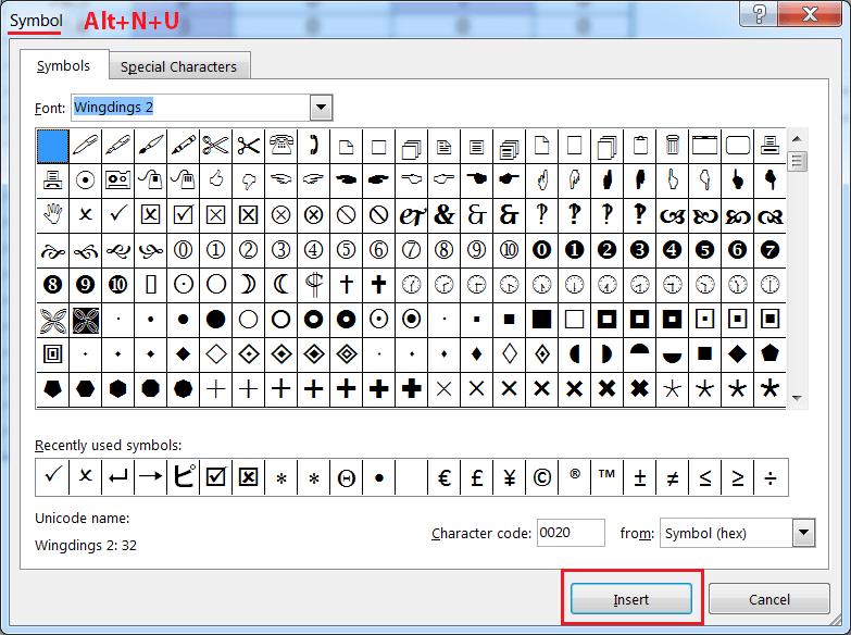 Alt+N+U