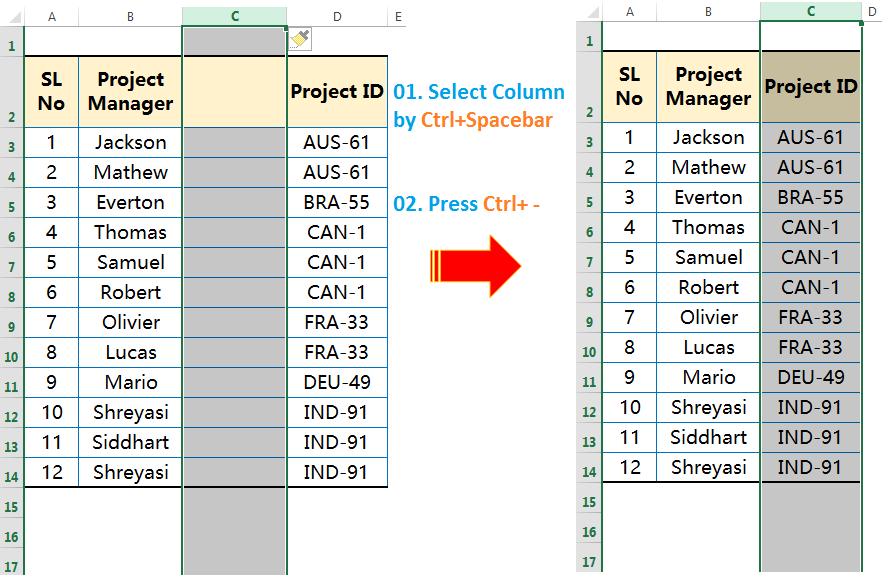 Delete columns by Ctrl+-