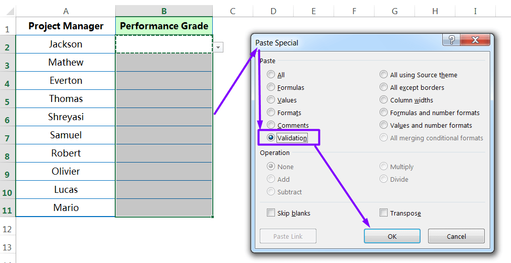Pasting 'Validation' rules to the entire Ranges_step4