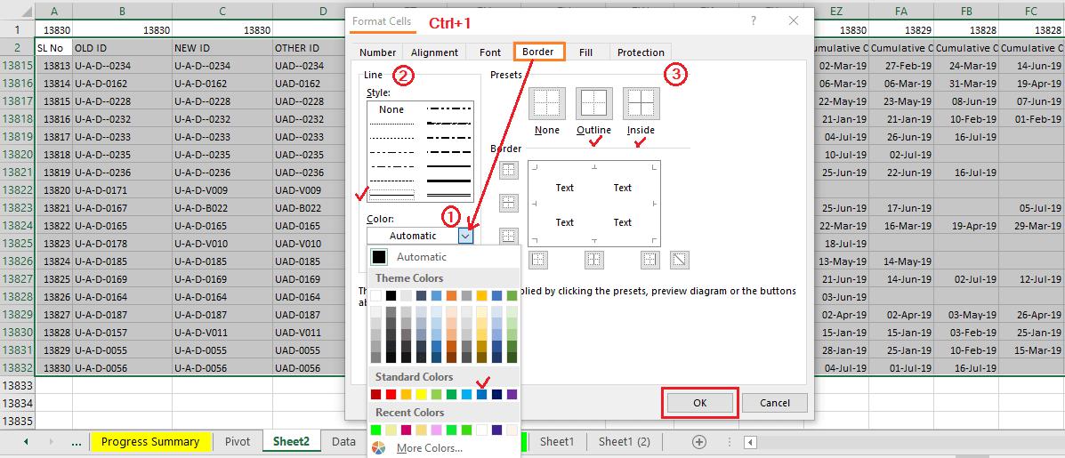 Reduce Excel File size-13 (Use Custom Borders)