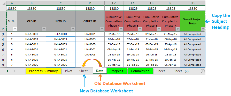 Reduce Excel File size-17 (Use same Heading Formatting from the old database to the new database)