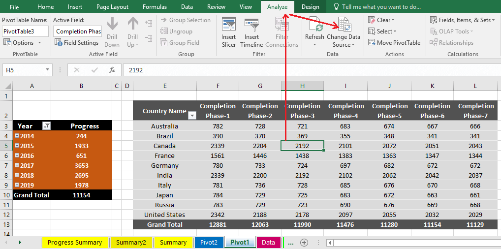 Reduce Excel File size-25 (Change Old Data Source to New Data Source of a Pivot Table)
