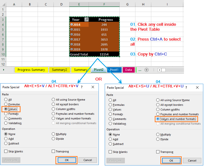 Reduce Excel File size-28 (Convert into Values the Unused Pivot Table)