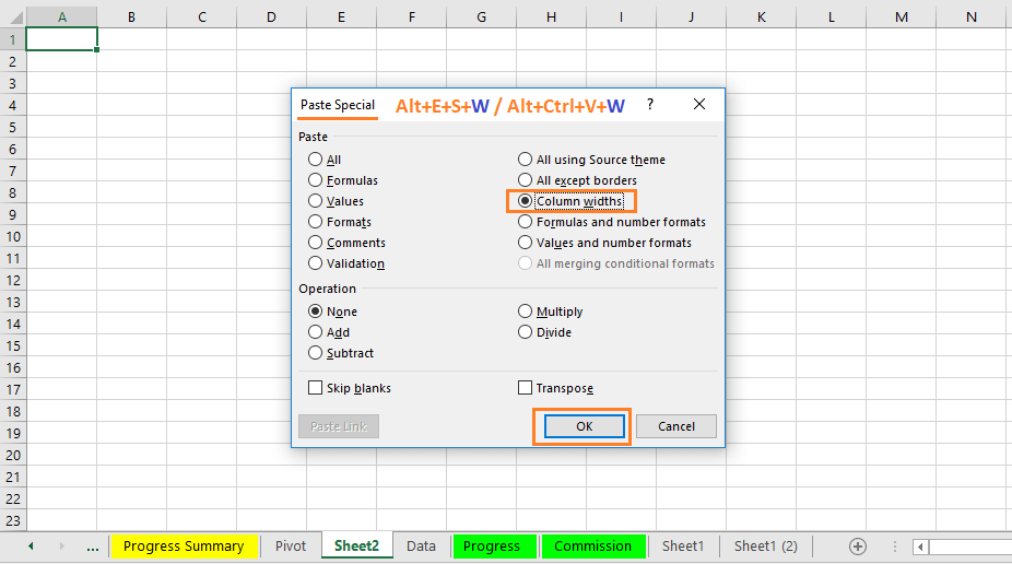 """Reduce Excel File size-3(Use """"Column Widths"""" under Paste Special Wizard)"""
