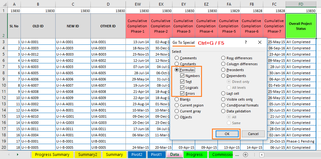 Reduce Excel File size-32 (Find & Select all the Formulas inside the Main Database Area)