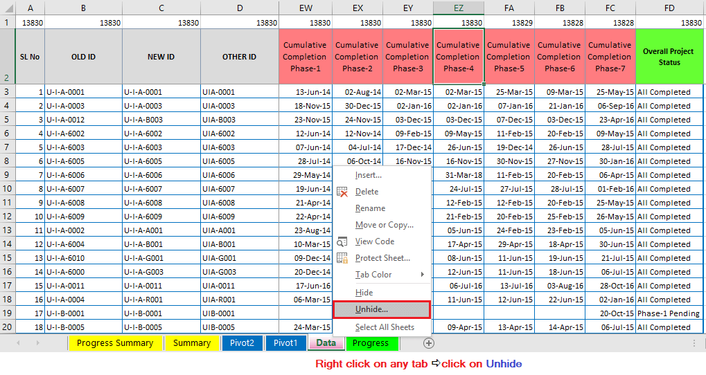 Reduce Excel File size-35 (Remove hidden worksheets or tabs)-Right-click to Unhide the worksheet/tab