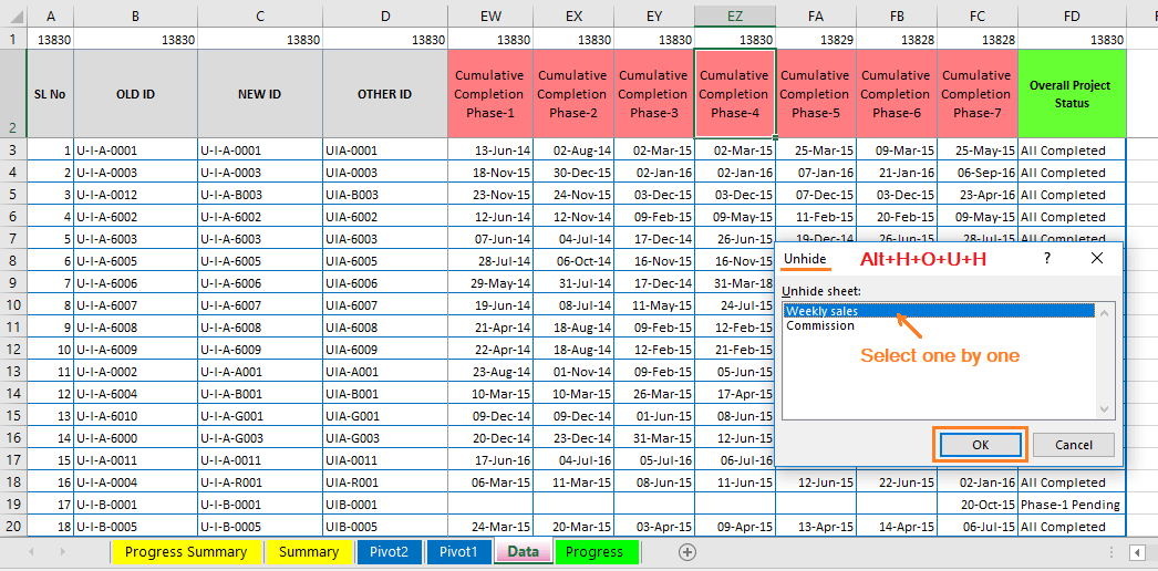 Reduce Excel File size-36 (Remove hidden worksheets or tabs) Excel Shortcut to Unhide the worksheet/tab