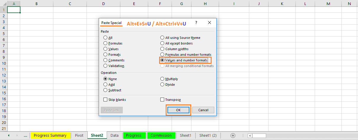 """Reduce Excel File size-5(Use """"Values and number formats"""" under Paste Special Wizard)"""