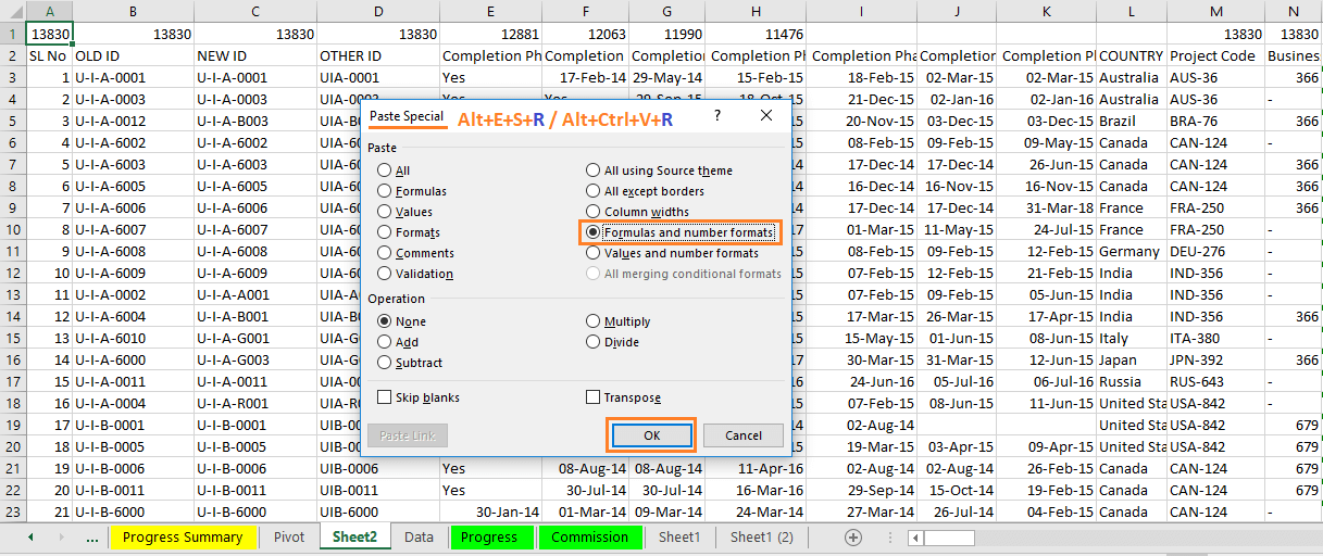 """Reduce Excel File size-7 (Use """"Formulas and number formats"""" under Paste Special Wizard)"""