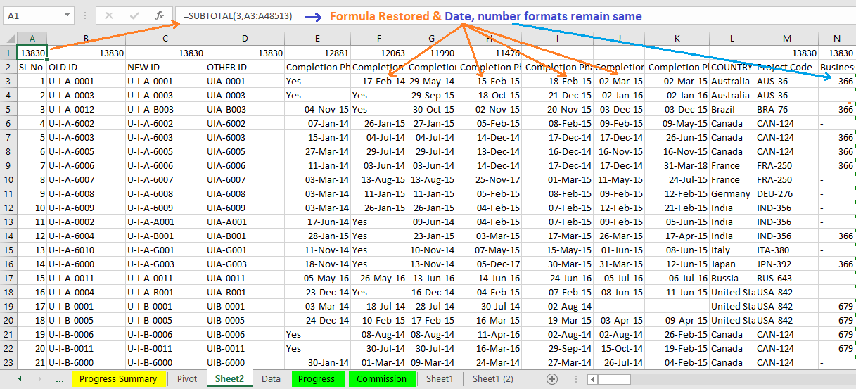 """Reduce Excel File size-8 (Use """"Formulas and number formats"""" under Paste Special Wizard)"""