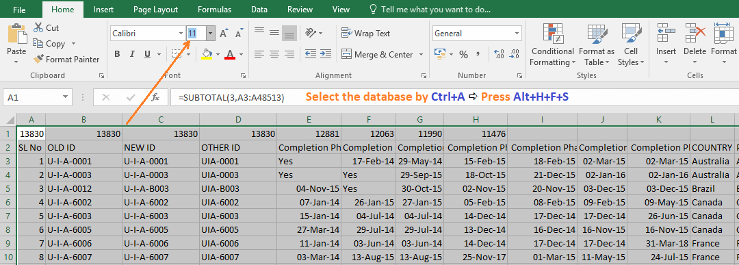 Reduce Excel File size-9 (Use Font Size Drop-down box)
