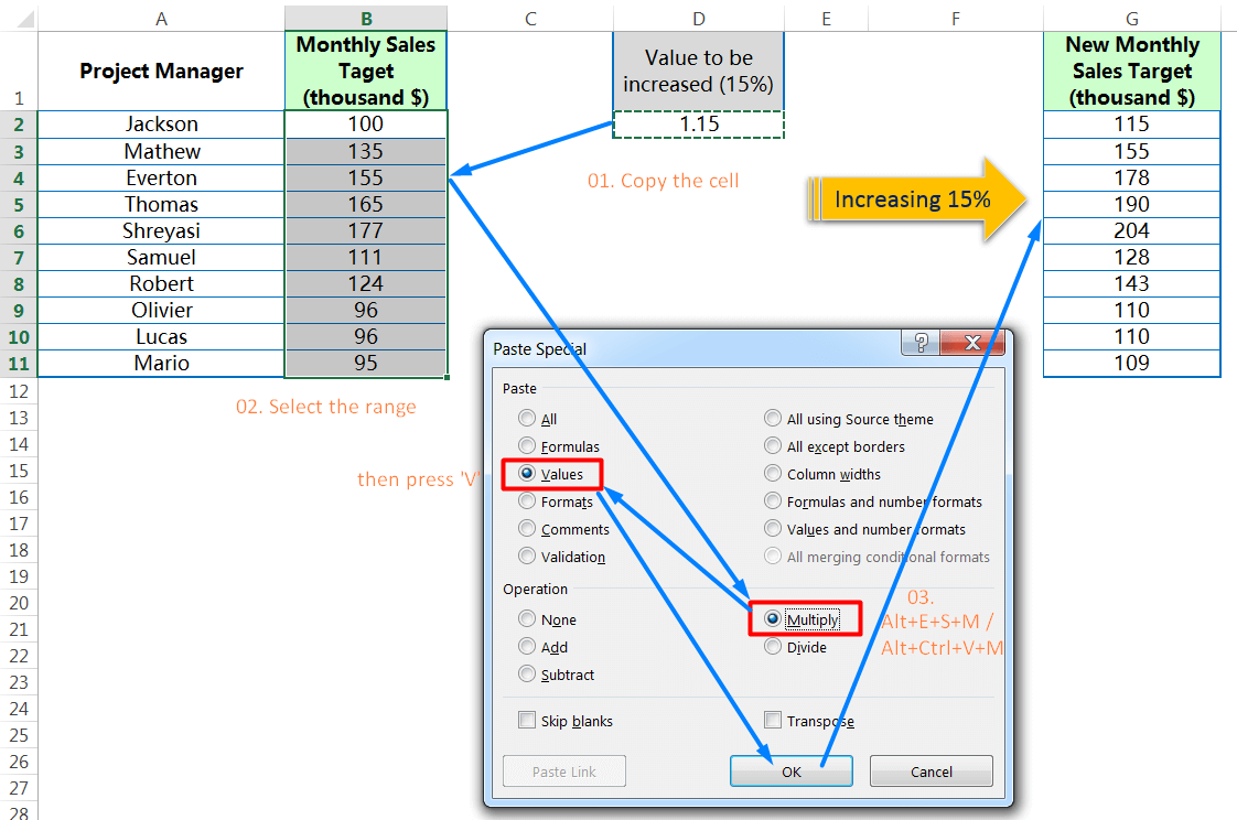 Using Paste Special to Multiply