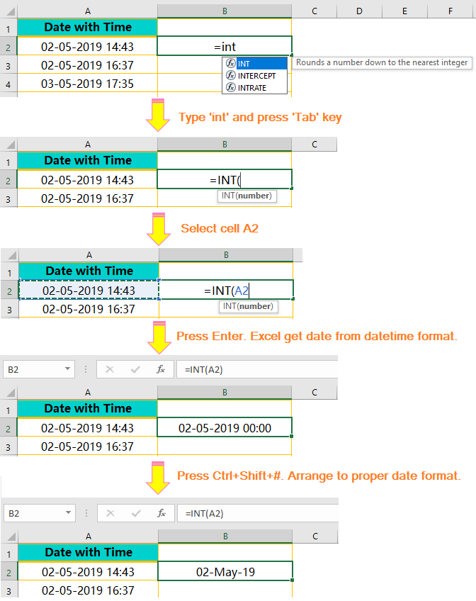 Using the INT() Function: Extract Date from Timestamp